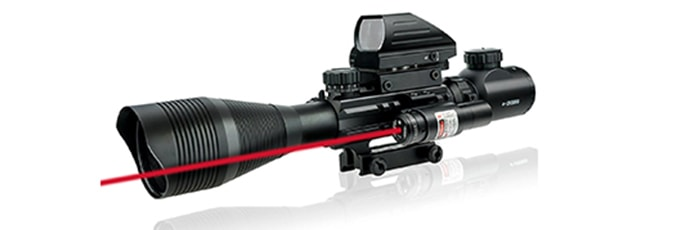 Lirisy Rifle Scope with Red Laser, Tactical Optics